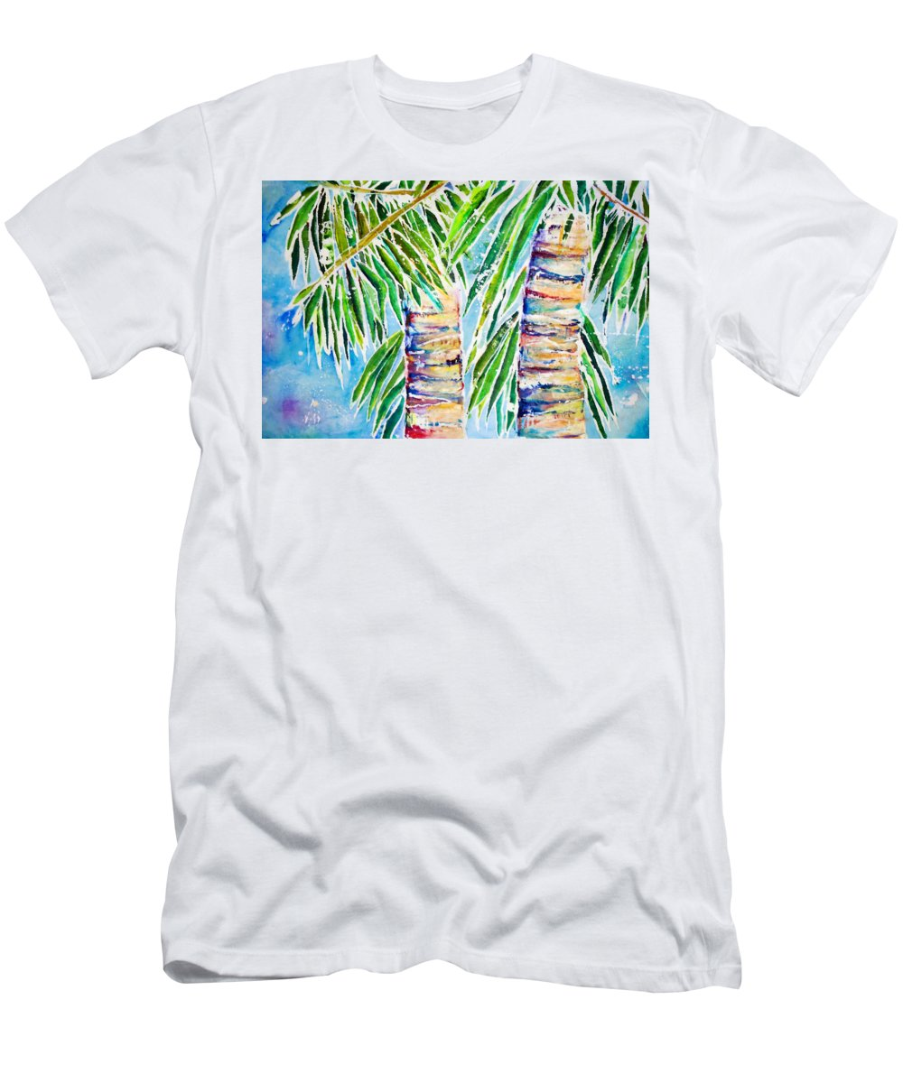 Acrylic Men's T-Shirt (Athletic Fit) featuring the painting Kaimana Beach by Julie Kerns Schaper - Printscapes