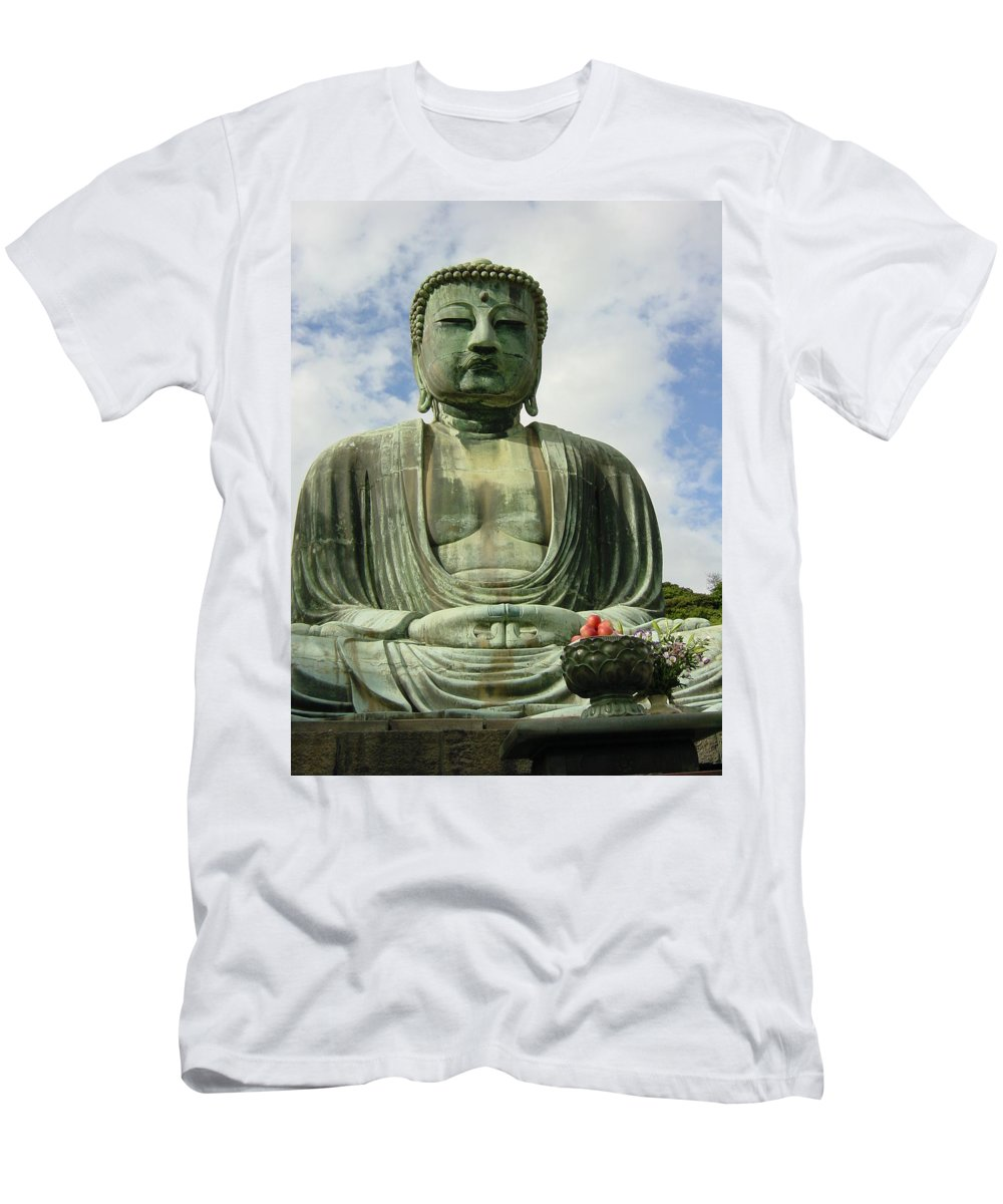 Buddha Men's T-Shirt (Athletic Fit) featuring the photograph Kamakura Daibutsu by D Turner