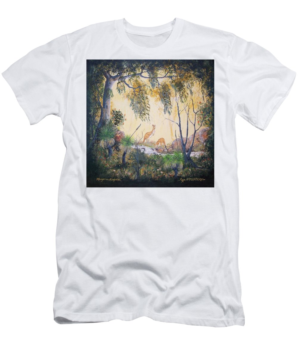 #artwork Men's T-Shirt (Athletic Fit) featuring the painting Kangaroo Kingdom by Rex Woodmore