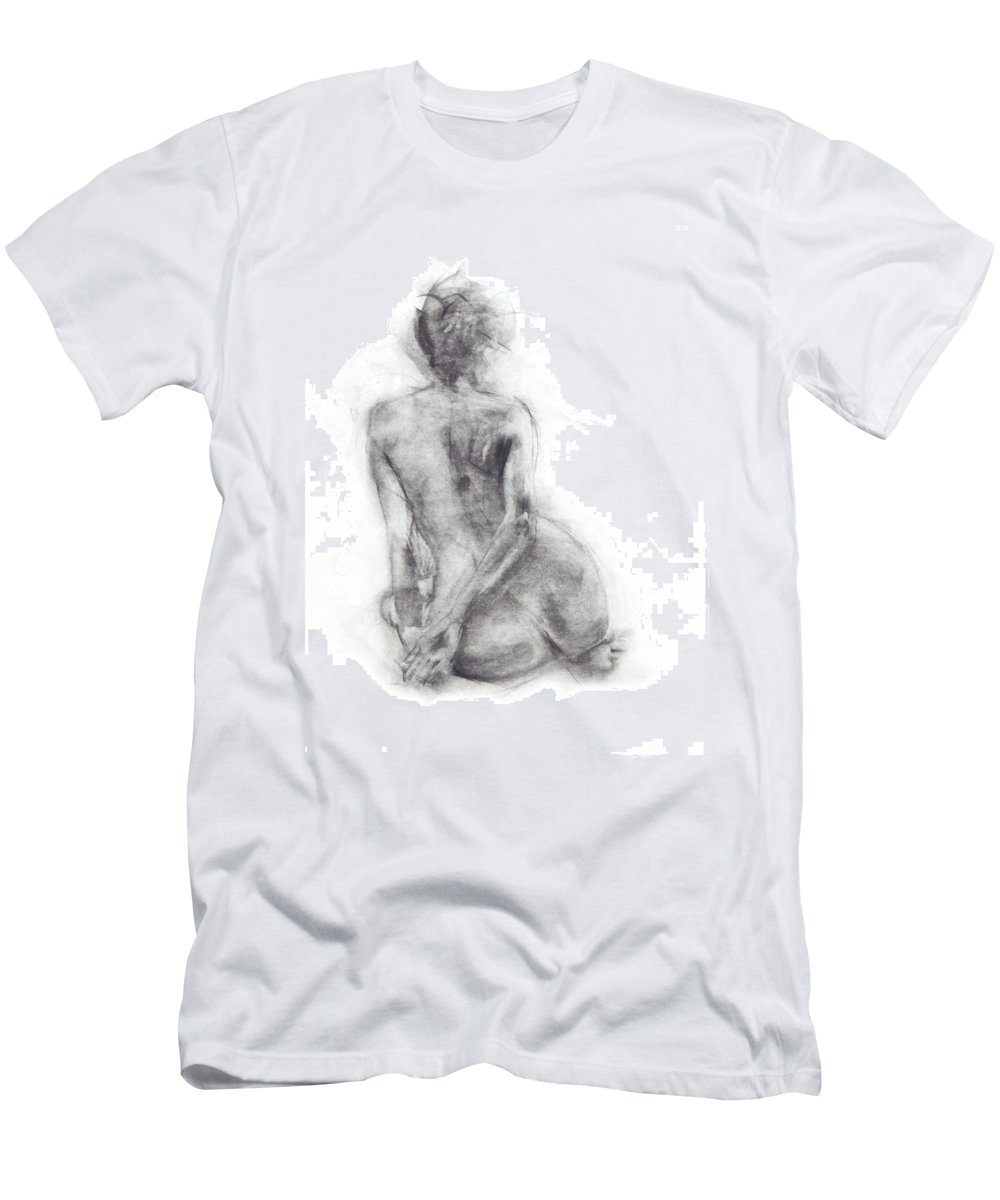 Dancer Men's T-Shirt (Athletic Fit) featuring the drawing Karen - Sitting by Christopher Williams