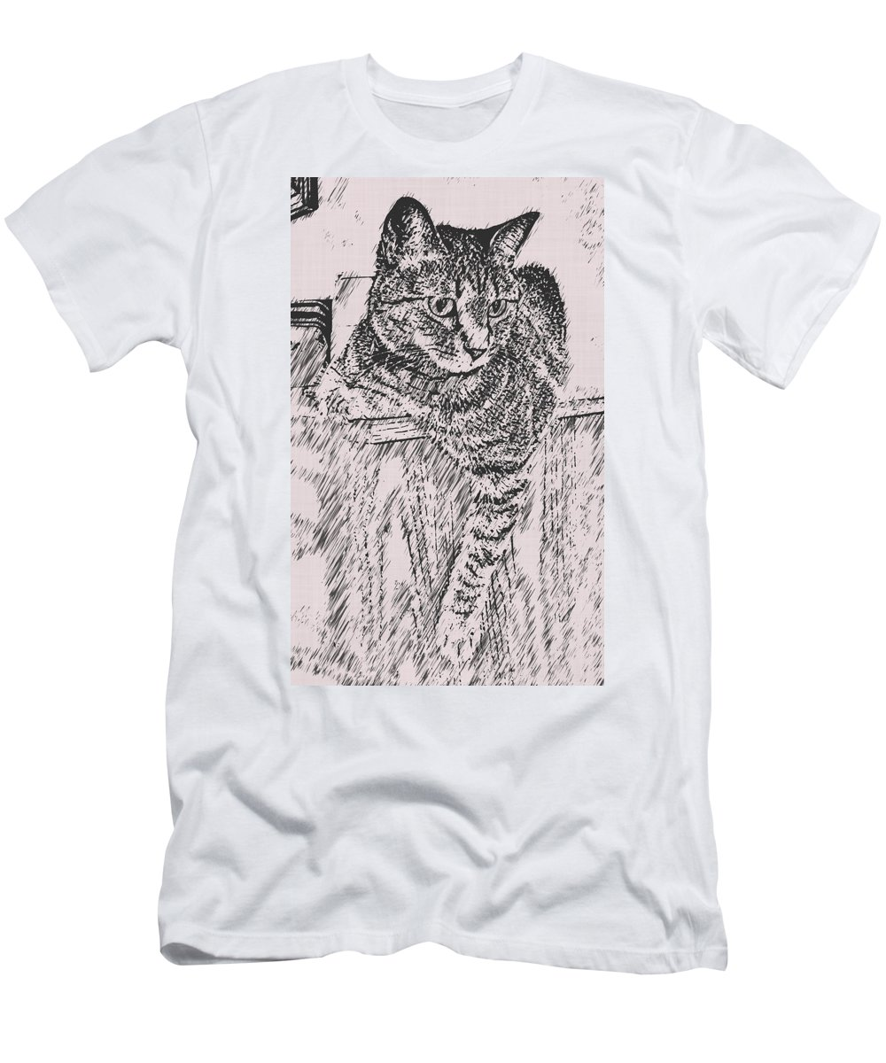 Cat Men's T-Shirt (Athletic Fit) featuring the photograph Keeping Watch by David G Paul
