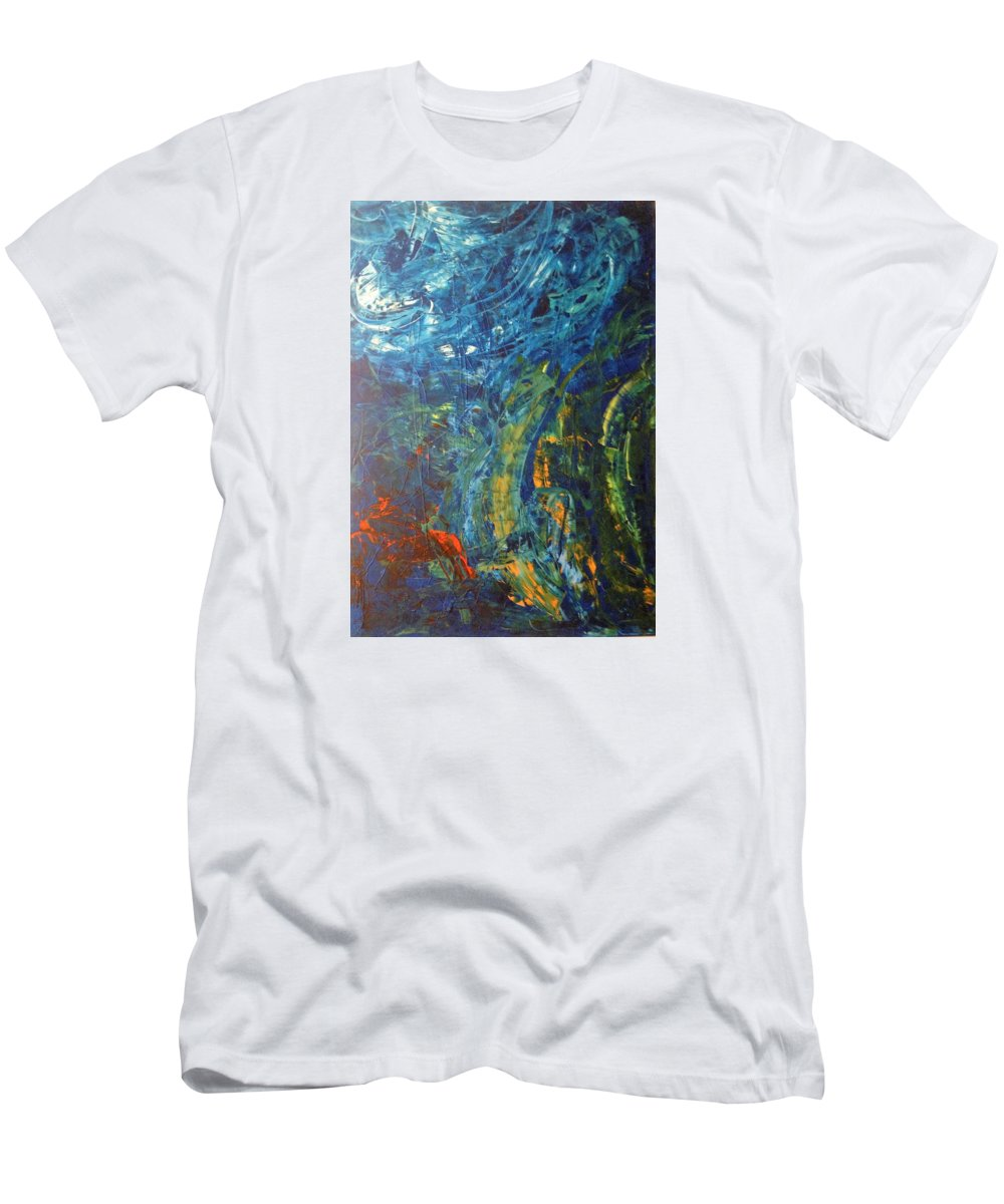 Abstract Art Men's T-Shirt (Athletic Fit) featuring the painting Kepler 452b by John Dossman