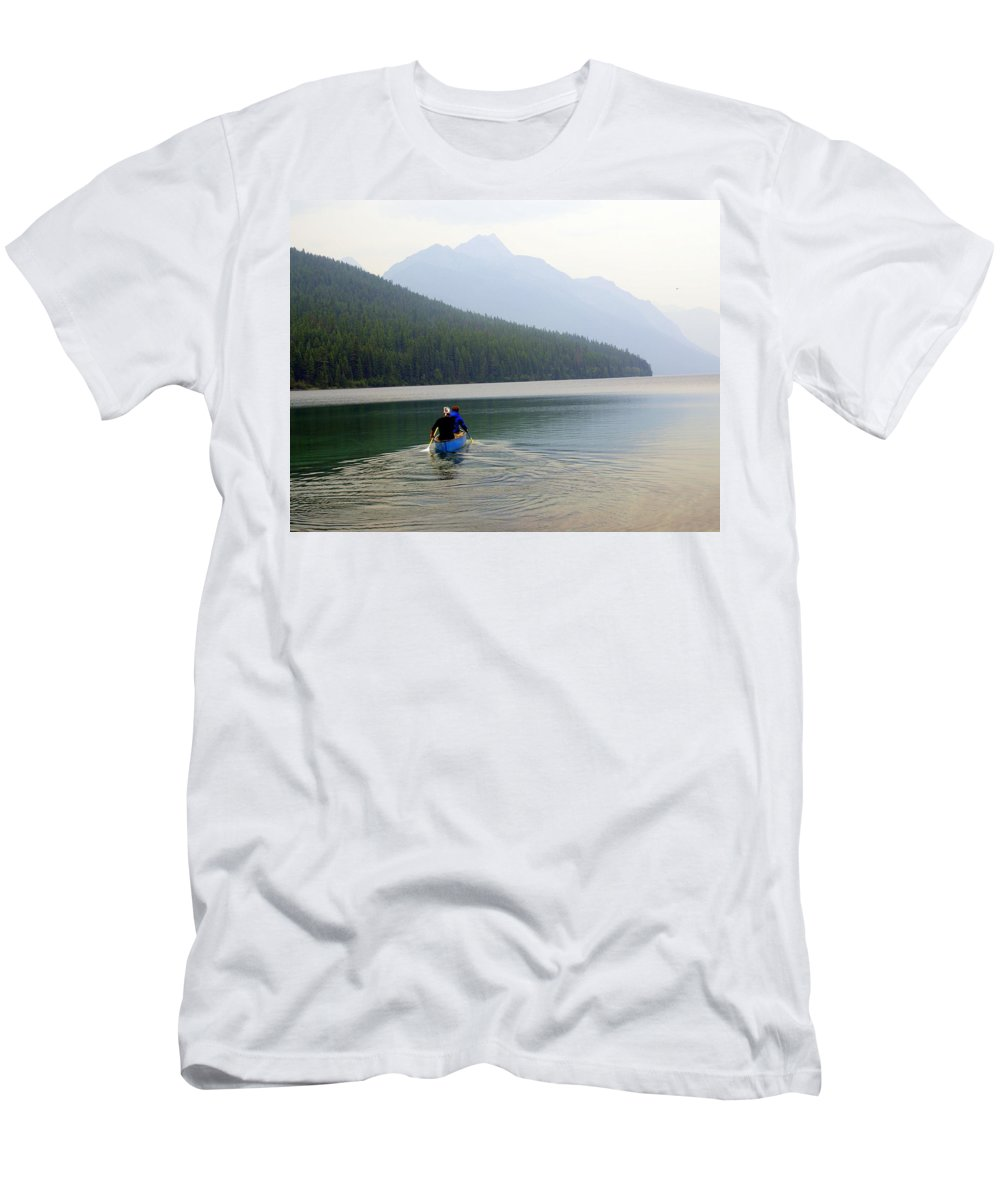 Mountains Men's T-Shirt (Athletic Fit) featuring the photograph Kintla Lake Paddlers by Marty Koch