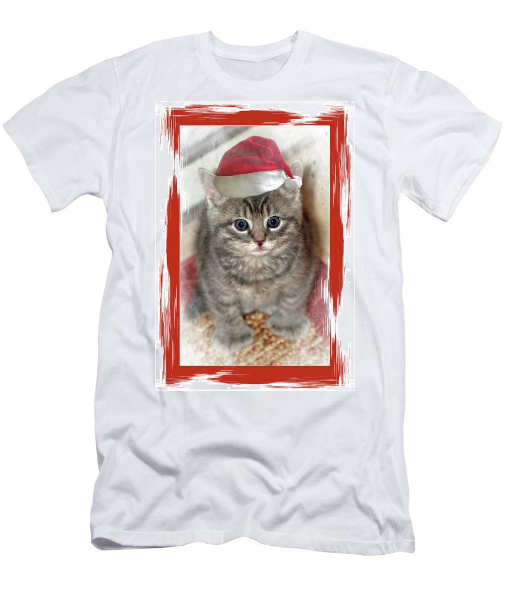 Recent Men's T-Shirt (Athletic Fit) featuring the photograph Kitten Playing Santa by Geraldine Scull