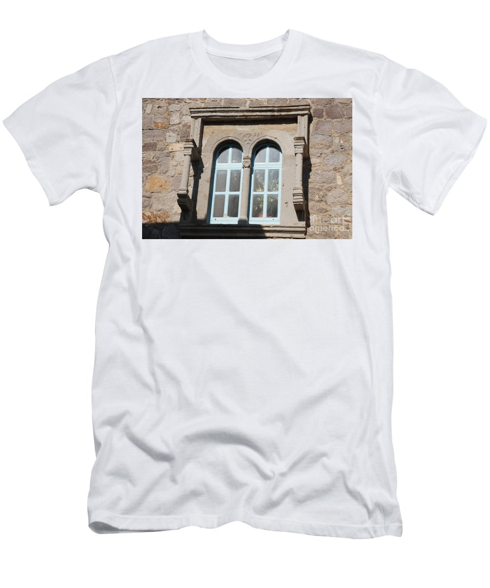Patmos Men's T-Shirt (Athletic Fit) featuring the photograph Knights Templar Cross On Windows Patmos Greece by Just Eclectic