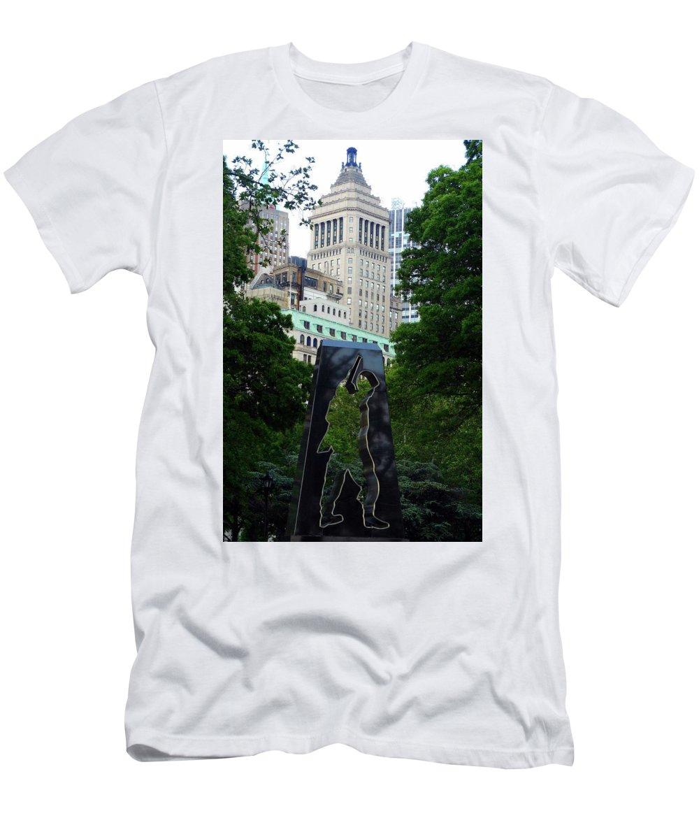 Korean War Memorial Men's T-Shirt (Athletic Fit) featuring the photograph N Y Korean War Memorial 2 by Ron Kandt