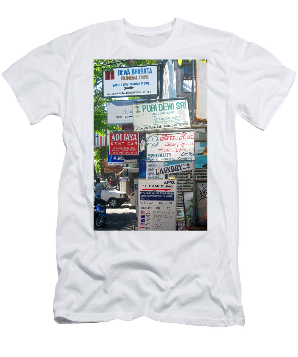 Bali Men's T-Shirt (Athletic Fit) featuring the photograph Kuta Street Signs -- Bali by Mark Sellers