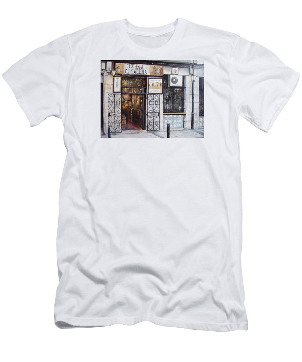 Bodega T-Shirt featuring the painting La Cigalena Old Restaurant by Tomas Castano