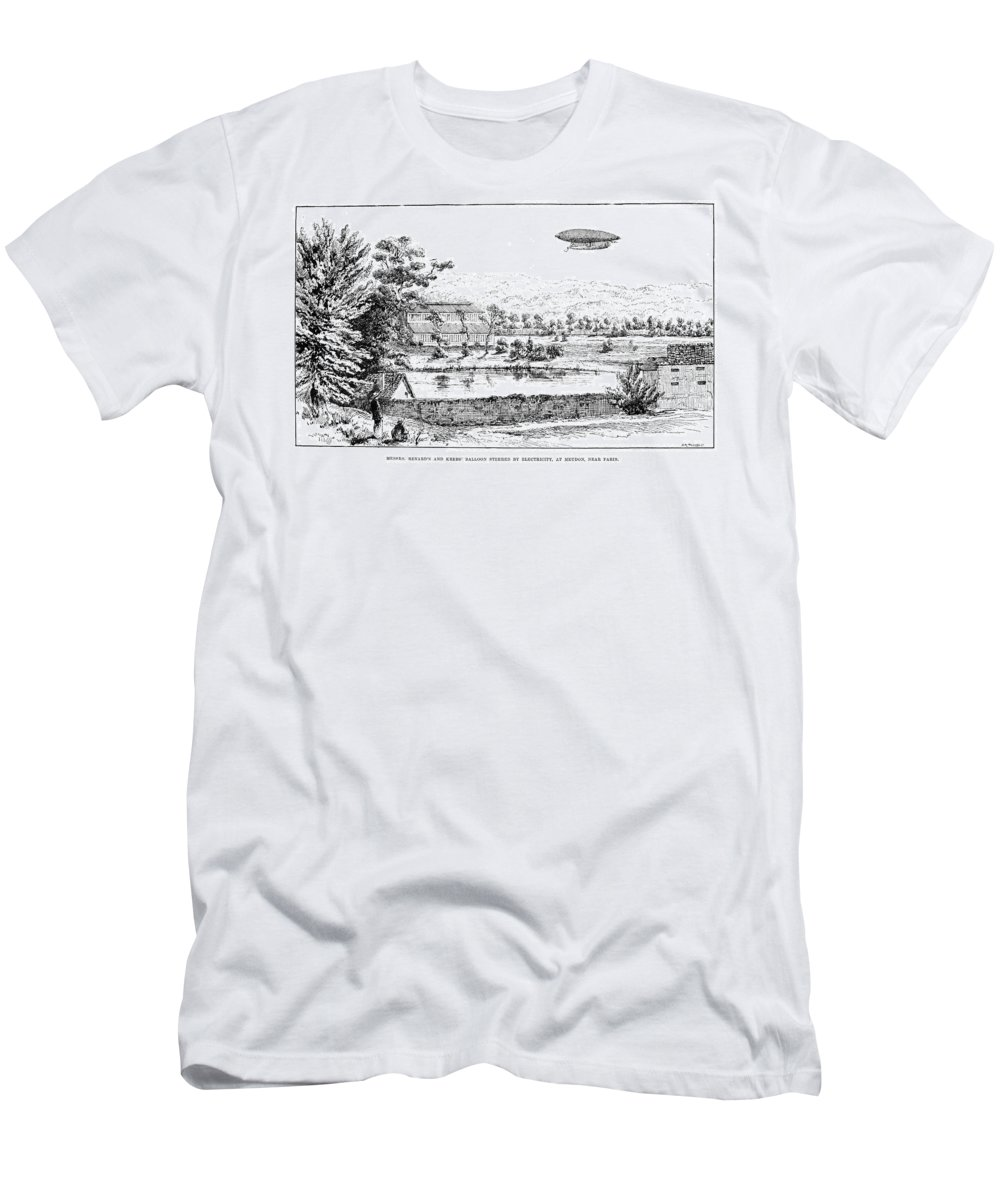 1884 Men's T-Shirt (Athletic Fit) featuring the photograph La France Airship, 1884 by Granger