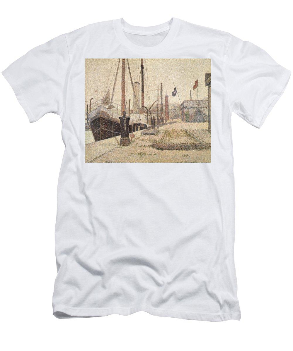 La Maria At Honfleur Men's T-Shirt (Athletic Fit) featuring the painting La Maria At Honfleur by Georges Pierre Seurat