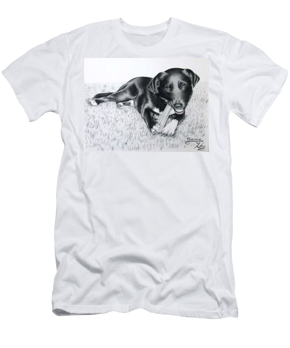 Dog Men's T-Shirt (Athletic Fit) featuring the drawing Labrador Samy by Nicole Zeug