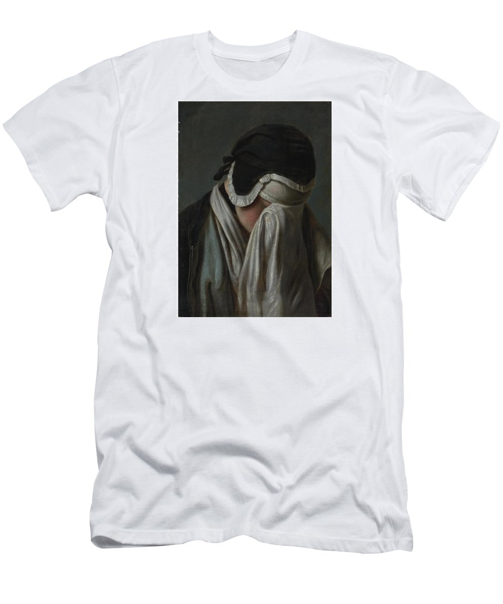 Pietro Antonio Rotari(1707 - 1762) Lady Crying Men's T-Shirt (Athletic Fit) featuring the painting Lady Crying by MotionAge Designs