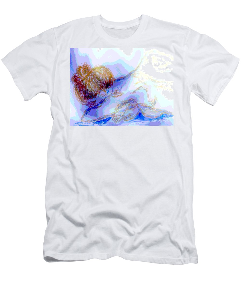 Lady Men's T-Shirt (Athletic Fit) featuring the digital art Lady Crying by Shelley Jones