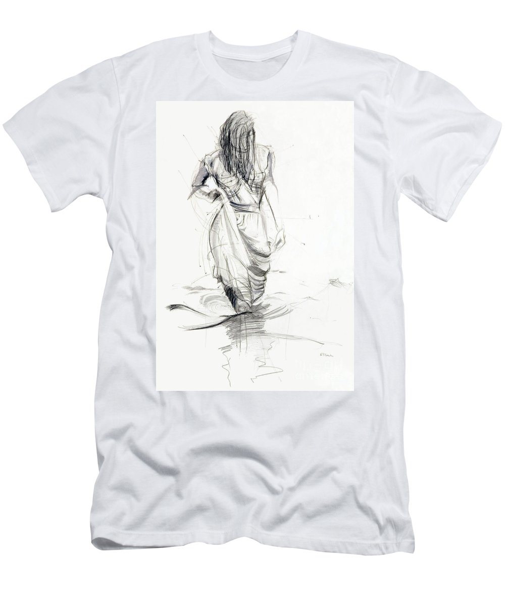 Woman Men's T-Shirt (Athletic Fit) featuring the drawing Lady In The Waters by Kerryn Madsen-Pietsch