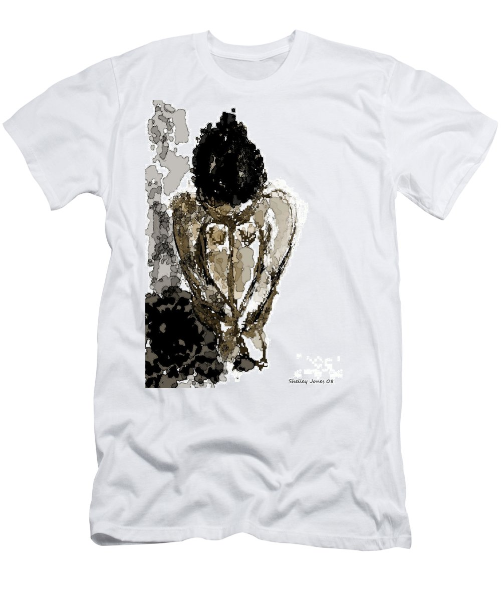 Lady Men's T-Shirt (Athletic Fit) featuring the digital art Lady Sitting by Shelley Jones
