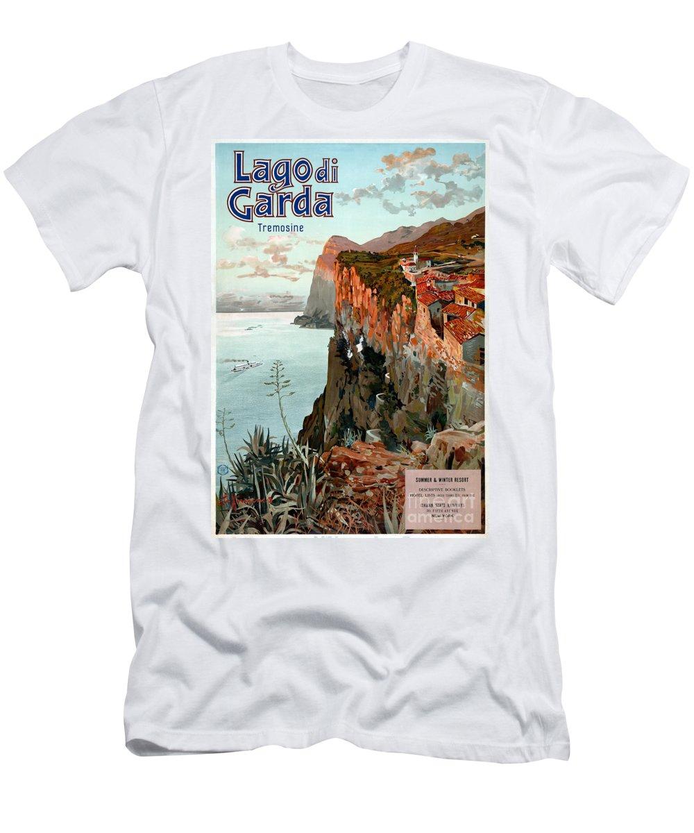 Lake Garda Men's T-Shirt (Athletic Fit) featuring the painting Lago Di Garda Lake Garda Vintage Poster by Vintage Treasure
