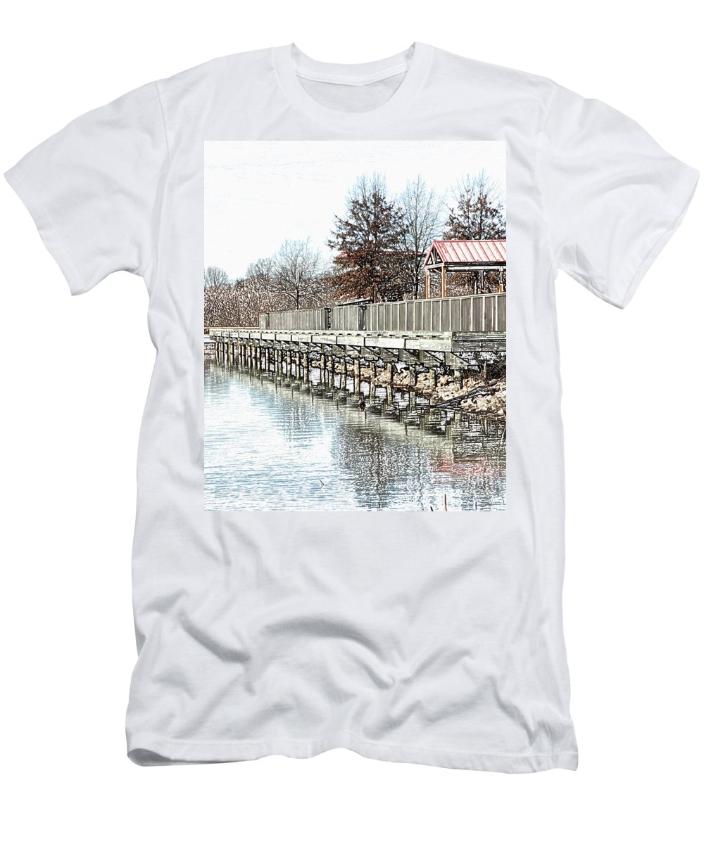 Lakes Men's T-Shirt (Athletic Fit) featuring the photograph Lake by Amanda Barcon