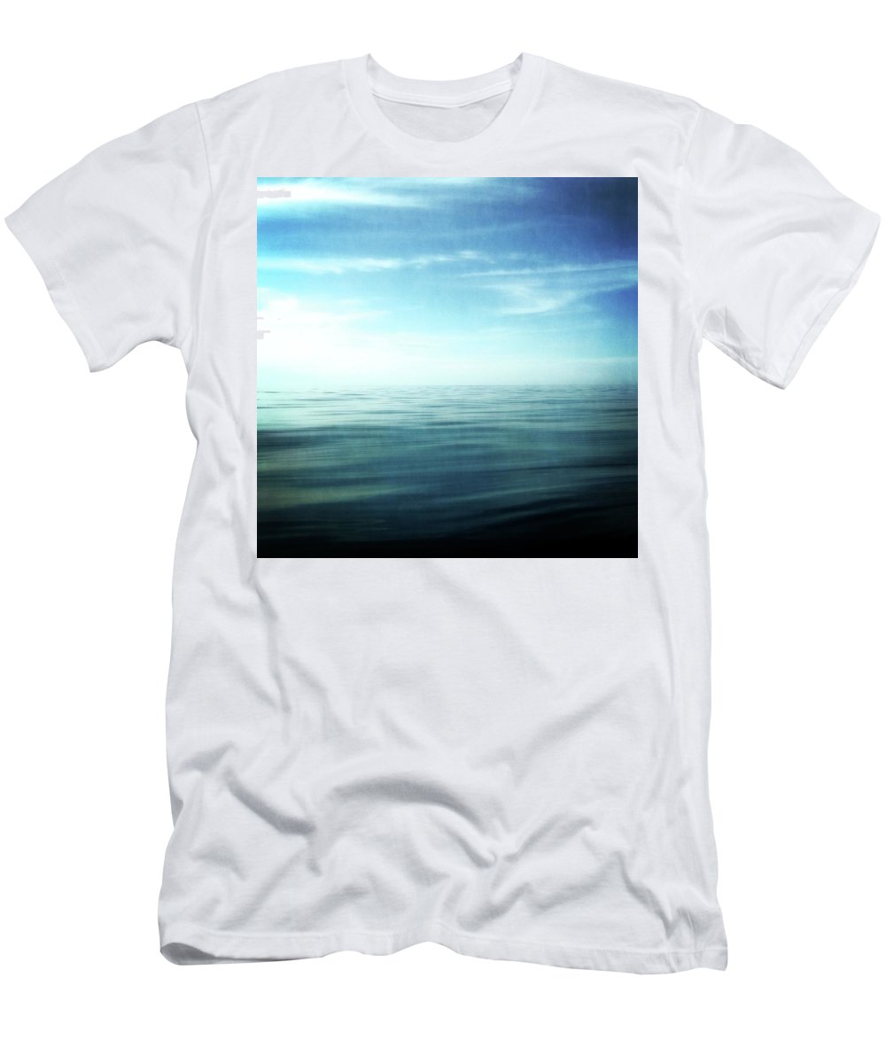 Blue Sky Men's T-Shirt (Athletic Fit) featuring the photograph Lake And Sky by Michelle Calkins