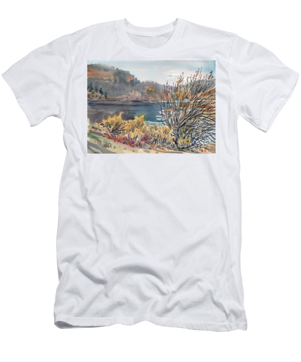 Lake Roosevelt Men's T-Shirt (Athletic Fit) featuring the painting Lake Roosevelt by Donald Maier