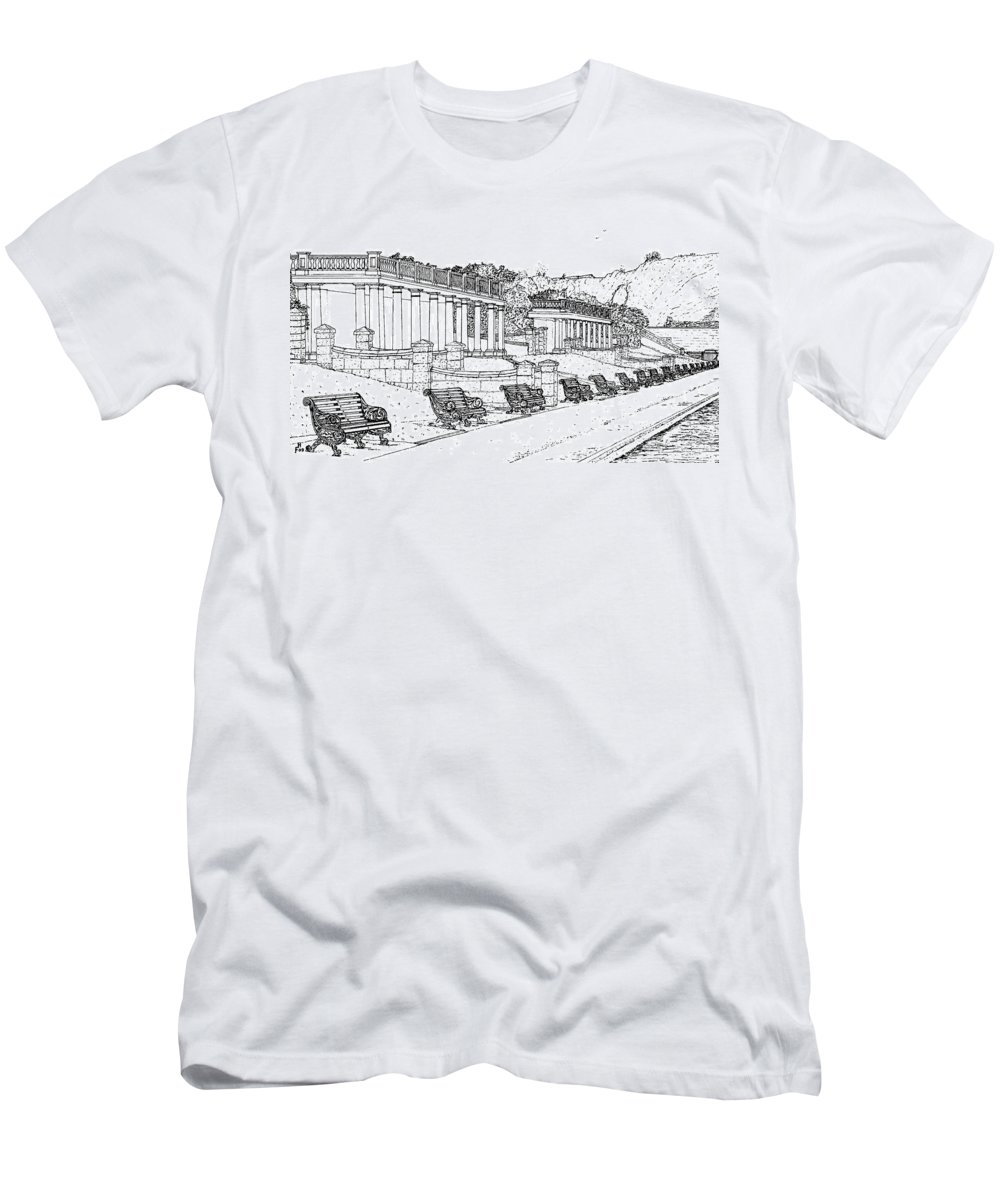 Scenic Drawing Men's T-Shirt (Athletic Fit) featuring the drawing Lakeside. Barry by Frank Hamilton