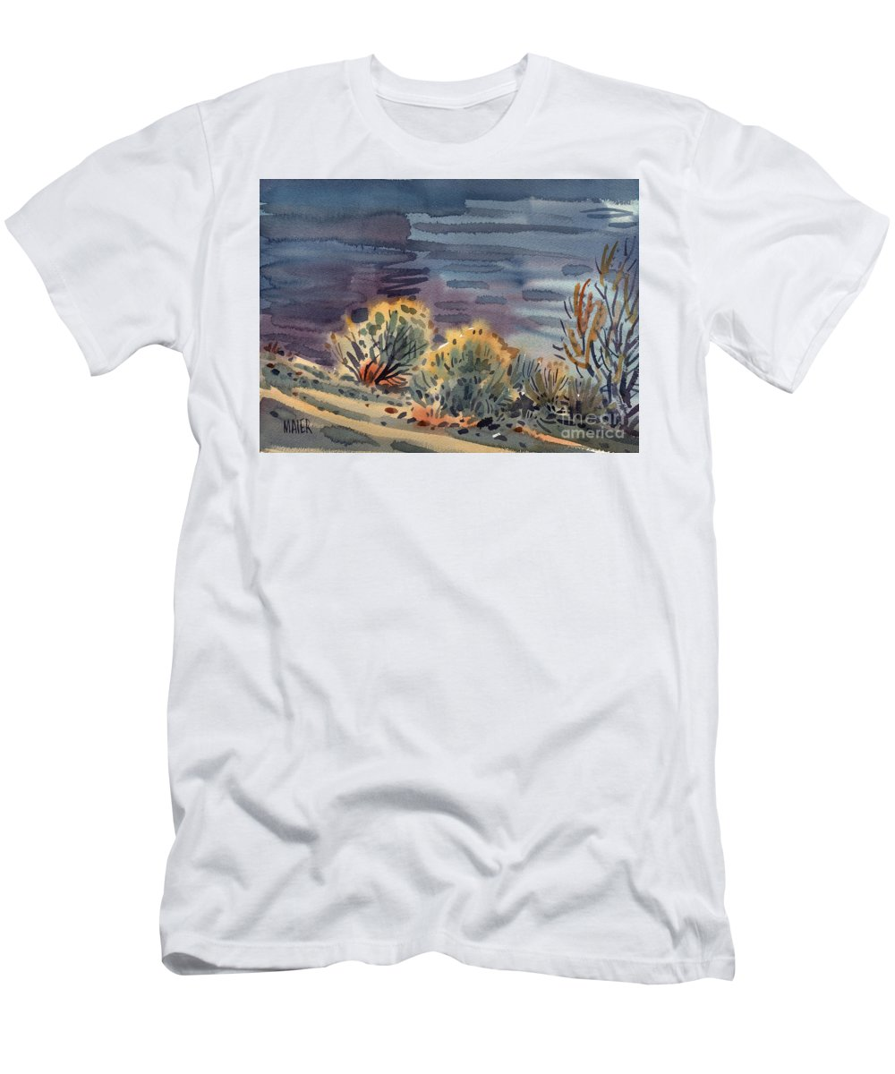 Plein Air Men's T-Shirt (Athletic Fit) featuring the painting Lakeside by Donald Maier