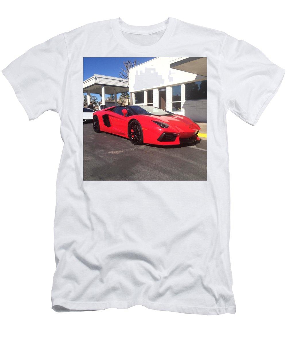 Lamborghini Aventador Spyder Men's T-Shirt (Athletic Fit) featuring the photograph Lamborghini Aventador Spyder by MAG Autosport