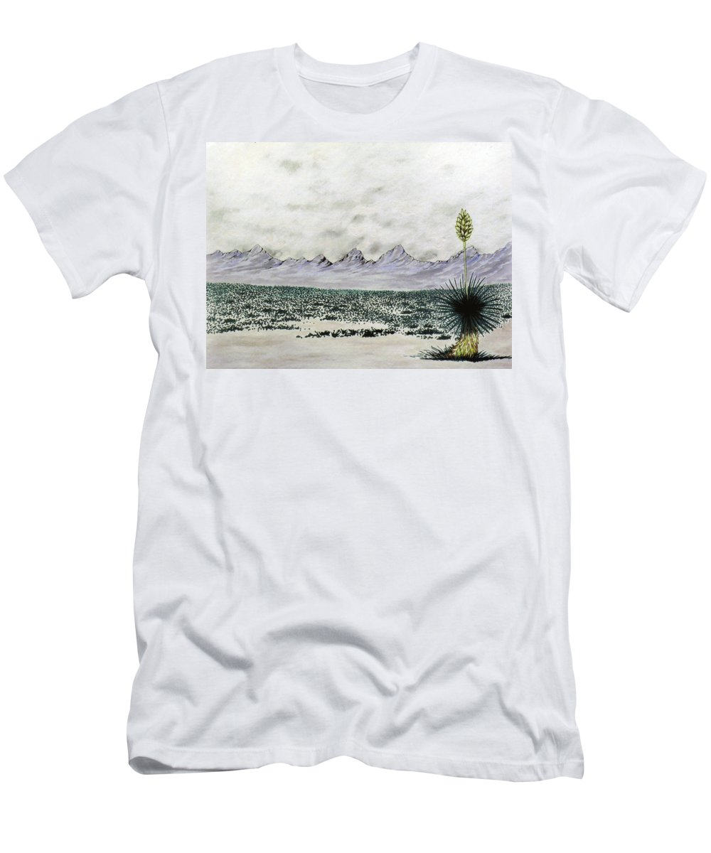 Desertscape T-Shirt featuring the painting Land of Enchantment by Marco Morales