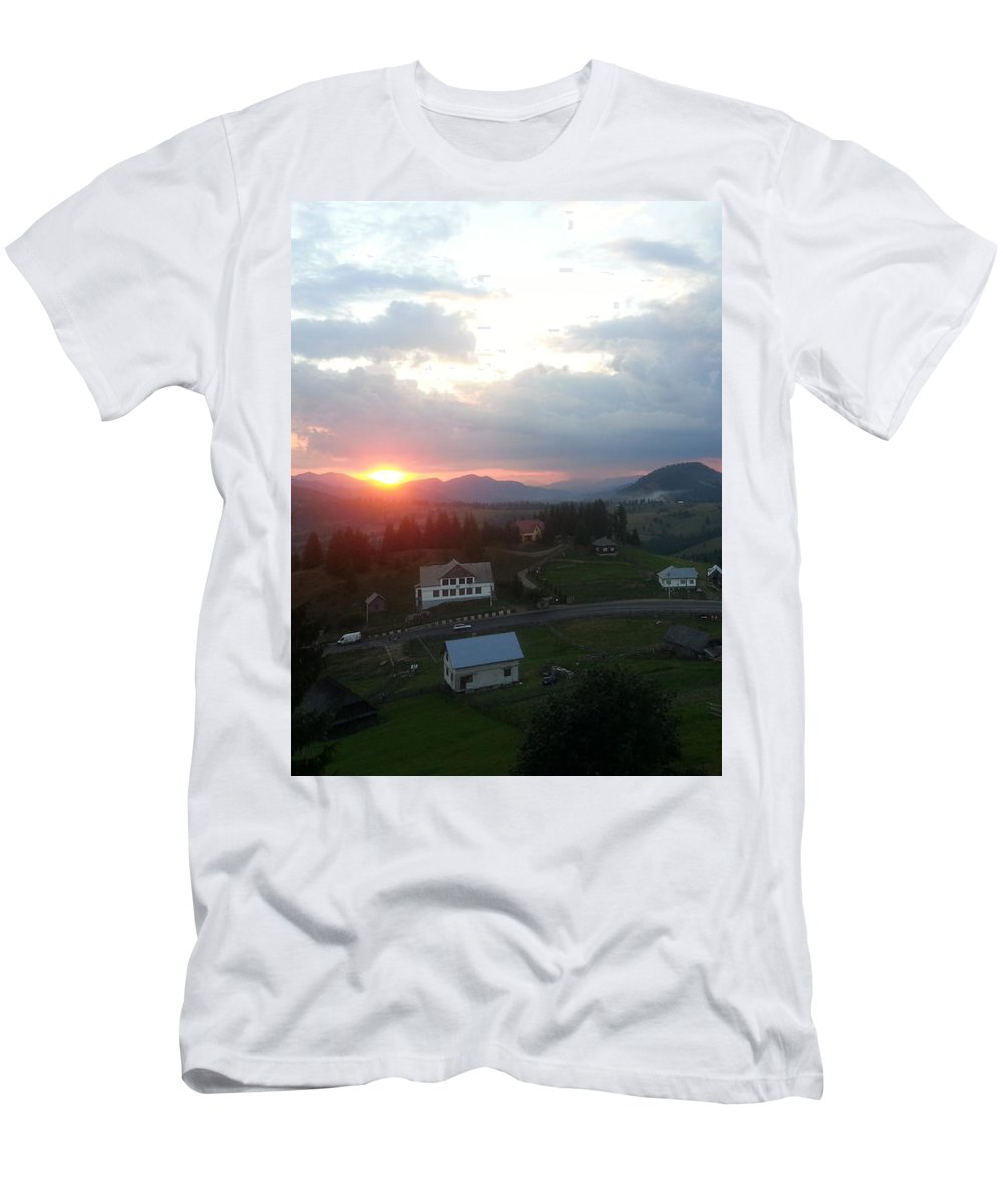 Landscape Romainia Rom�nien Draculahotel Men's T-Shirt (Athletic Fit) featuring the photograph Landscapee by Me