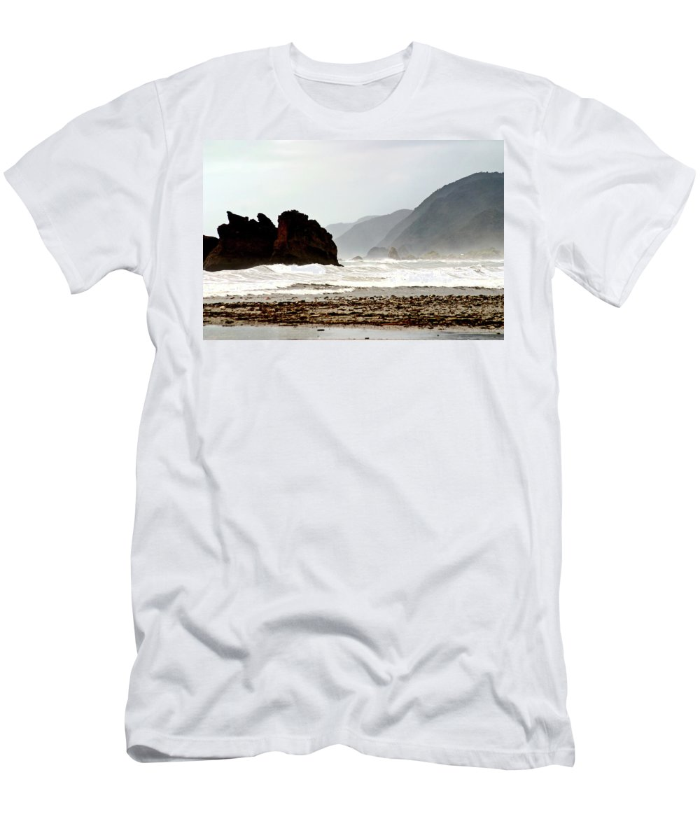 Coastline Men's T-Shirt (Athletic Fit) featuring the digital art Large Waves Along The New Zealand Coast by Mark Duffy