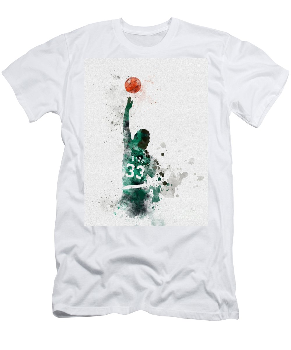 Larry Bird Men's T-Shirt (Athletic Fit) featuring the mixed media Larry Bird by My Inspiration