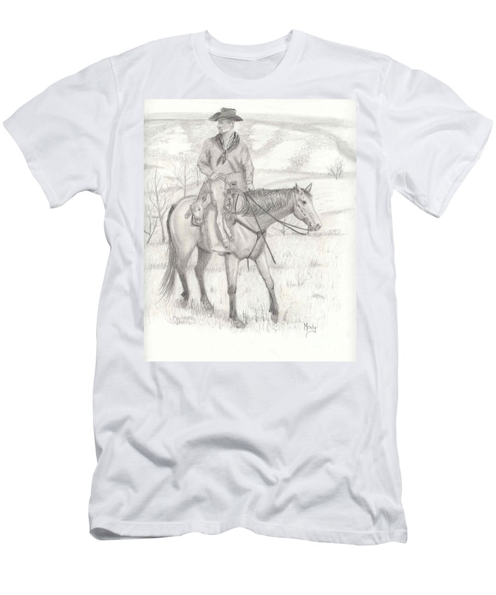 Horse Men's T-Shirt (Athletic Fit) featuring the drawing Last One In by Mendy Pedersen