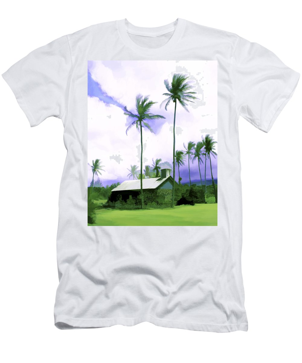 Hawaii Men's T-Shirt (Athletic Fit) featuring the photograph Lava Rock Church by Kurt Van Wagner