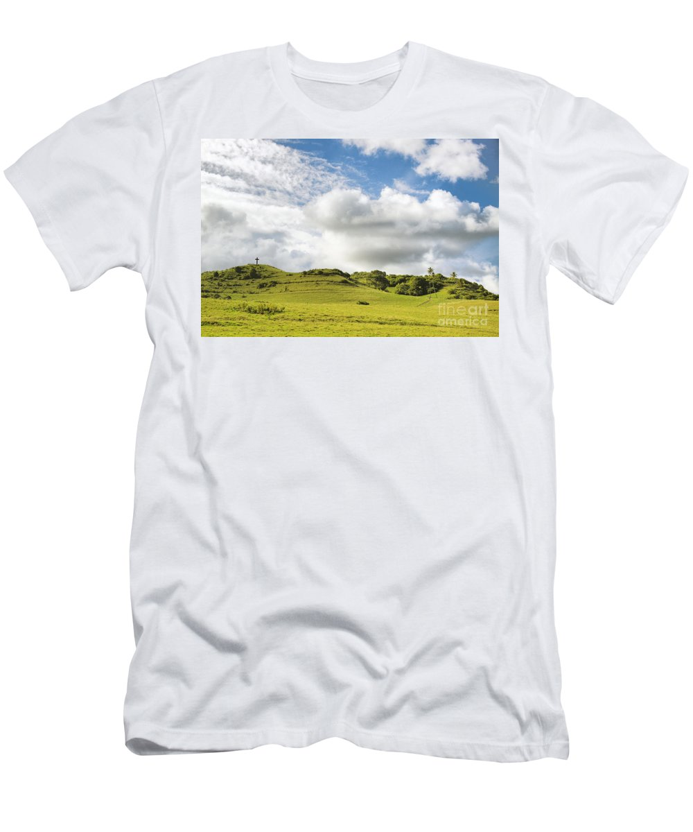 Amazing Men's T-Shirt (Athletic Fit) featuring the photograph Lava Rock Cross by Dave Fleetham - Printscapes