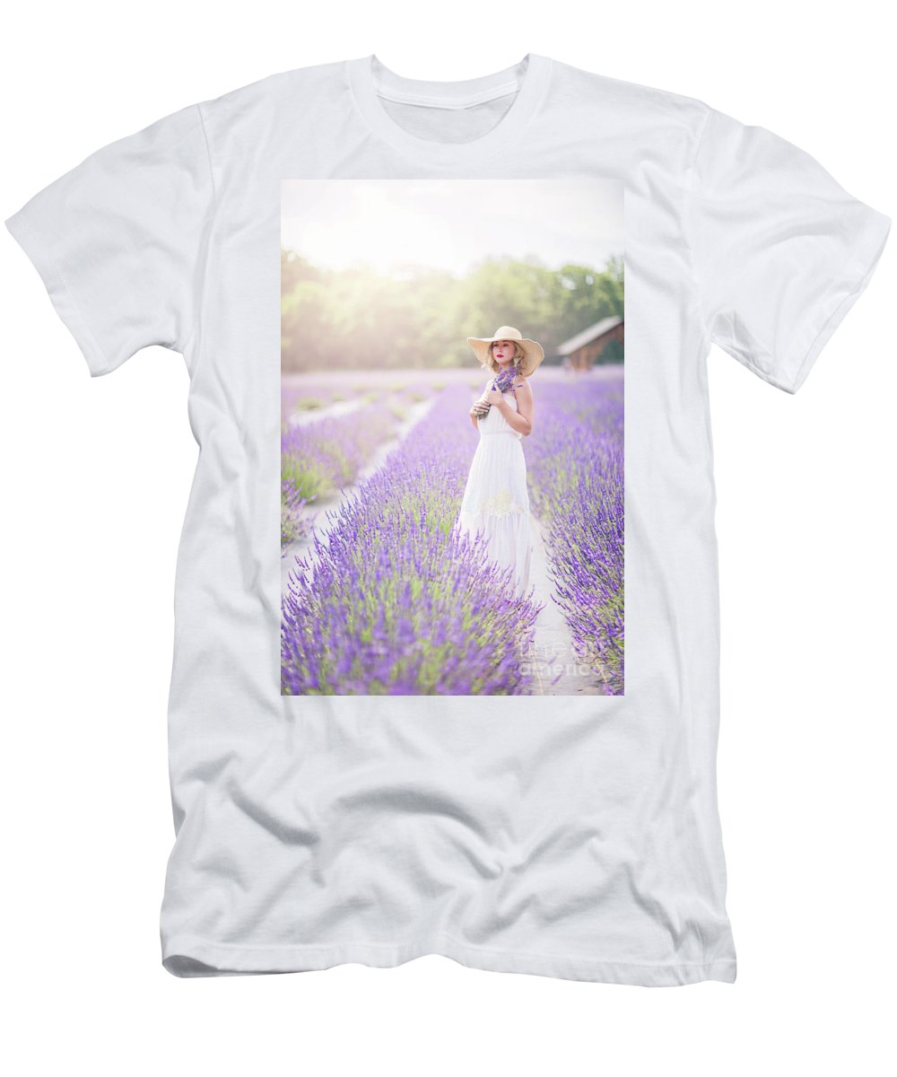 Kremsdorf Men's T-Shirt (Athletic Fit) featuring the photograph Lavender Dreams by Evelina Kremsdorf