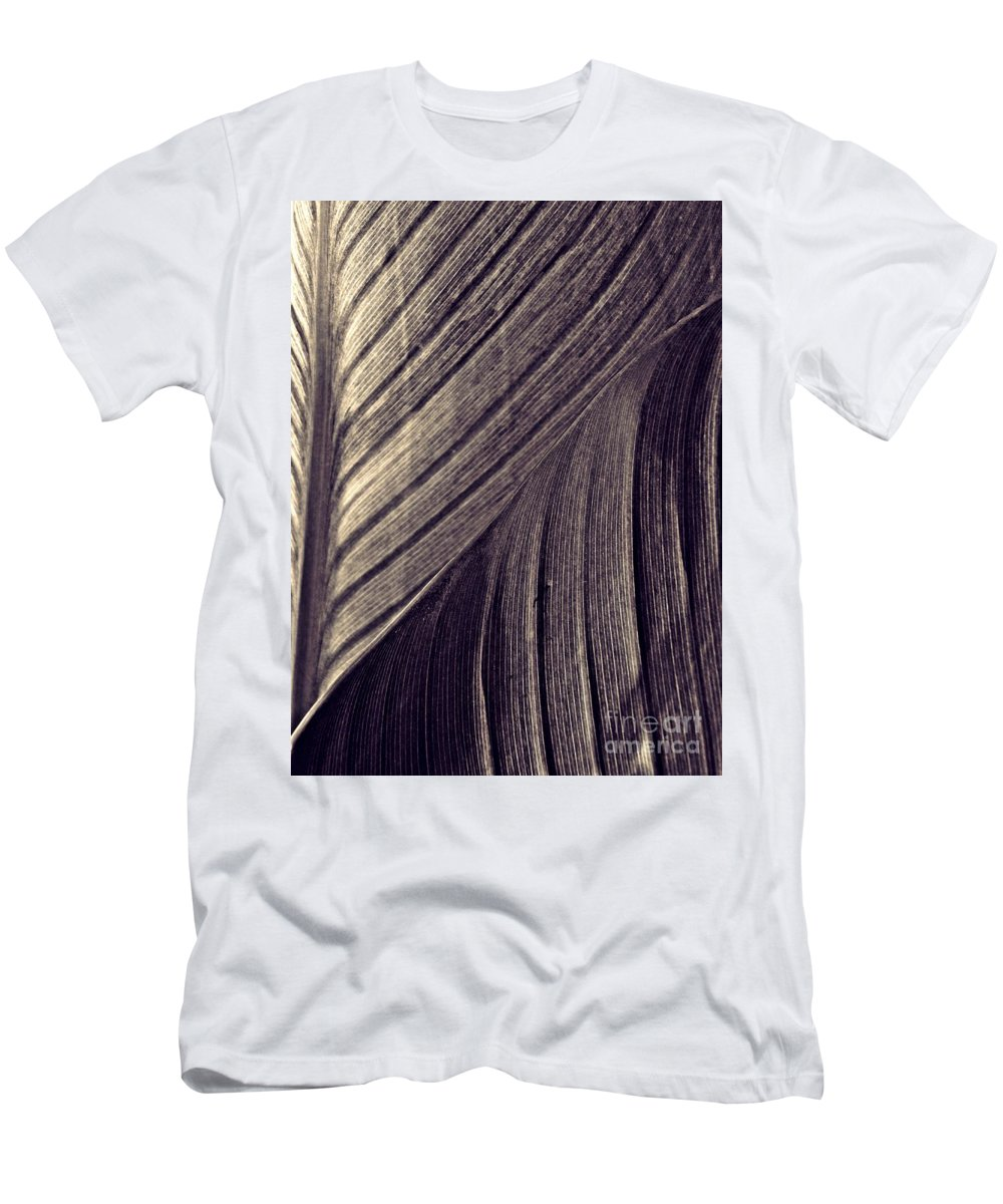 Canna Men's T-Shirt (Athletic Fit) featuring the photograph Leaf Abstract 24 Sepia  by Sarah Loft