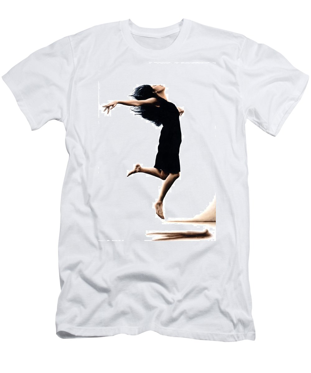 Ballet Men's T-Shirt (Athletic Fit) featuring the painting Leap Into The Unknown by Richard Young