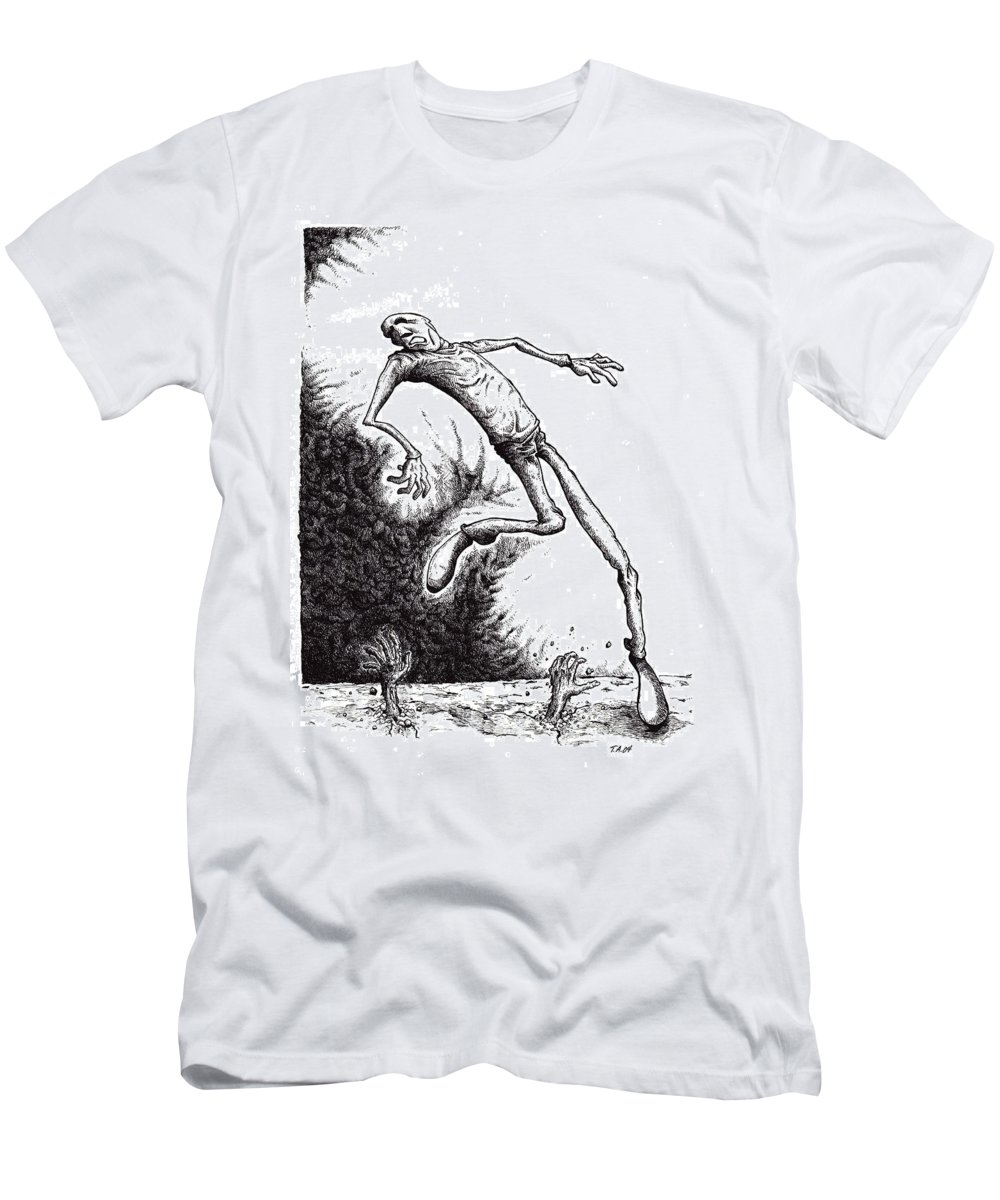 Black And White Men's T-Shirt (Athletic Fit) featuring the drawing Leap by Tobey Anderson