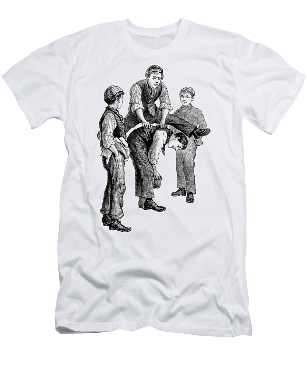 Leapfrog Boy Urchin Victorian Edwardian Engraved Engraving 1900's lack And White Bokspringen Game Haasje-over La Cavalina Monotone Play Playing Playground Saute-mouton Schoolboy Vaulting Vintage Retro Nostalgia Men's T-Shirt (Athletic Fit) featuring the drawing Leapfrog by Neil Baylis