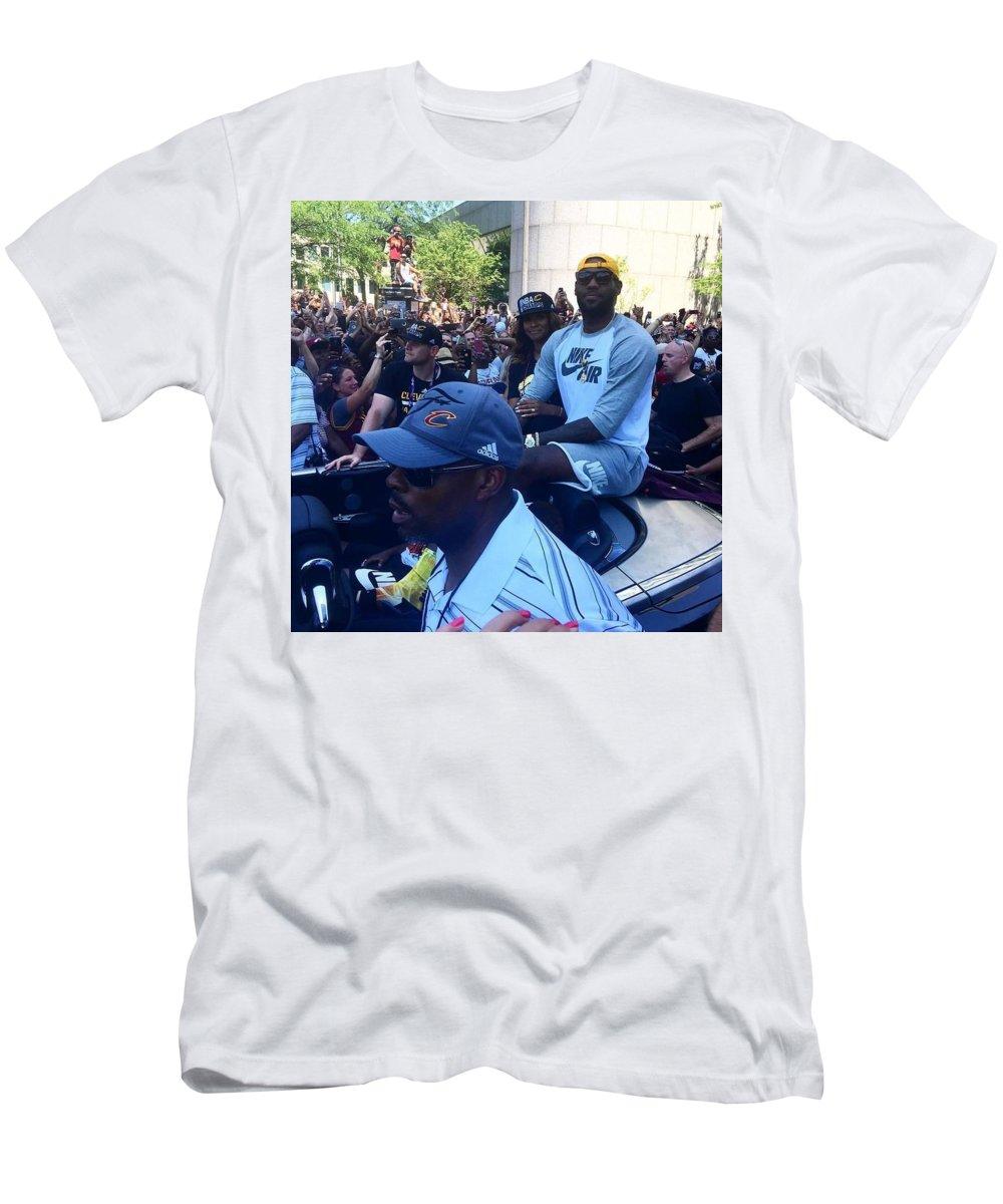 Lebron James Prints Men's T-Shirt (Athletic Fit) featuring the photograph Lebron James by R A W M