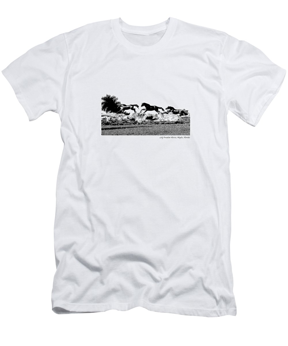 Horse Men's T-Shirt (Athletic Fit) featuring the photograph Lely Horses by Laurie Paci