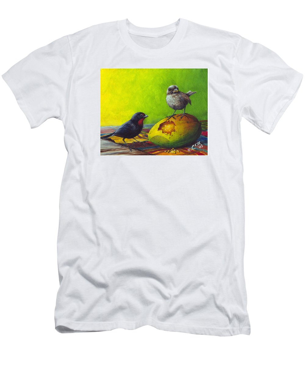 Chris Cox Men's T-Shirt (Athletic Fit) featuring the painting Lesser Antillean Bullfinches And Mango by Christopher Cox