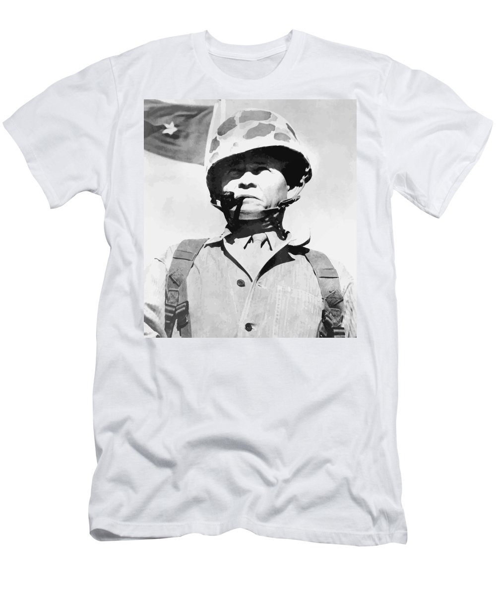 Chesty Puller Men's T-Shirt (Athletic Fit) featuring the painting Lewis Chesty Puller by War Is Hell Store