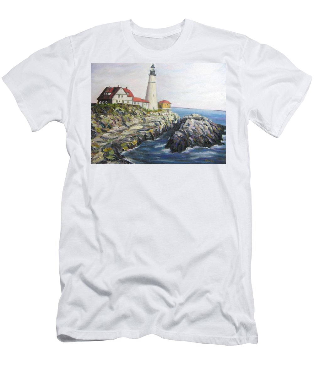 Portland Men's T-Shirt (Athletic Fit) featuring the painting Light House by Richard Nowak