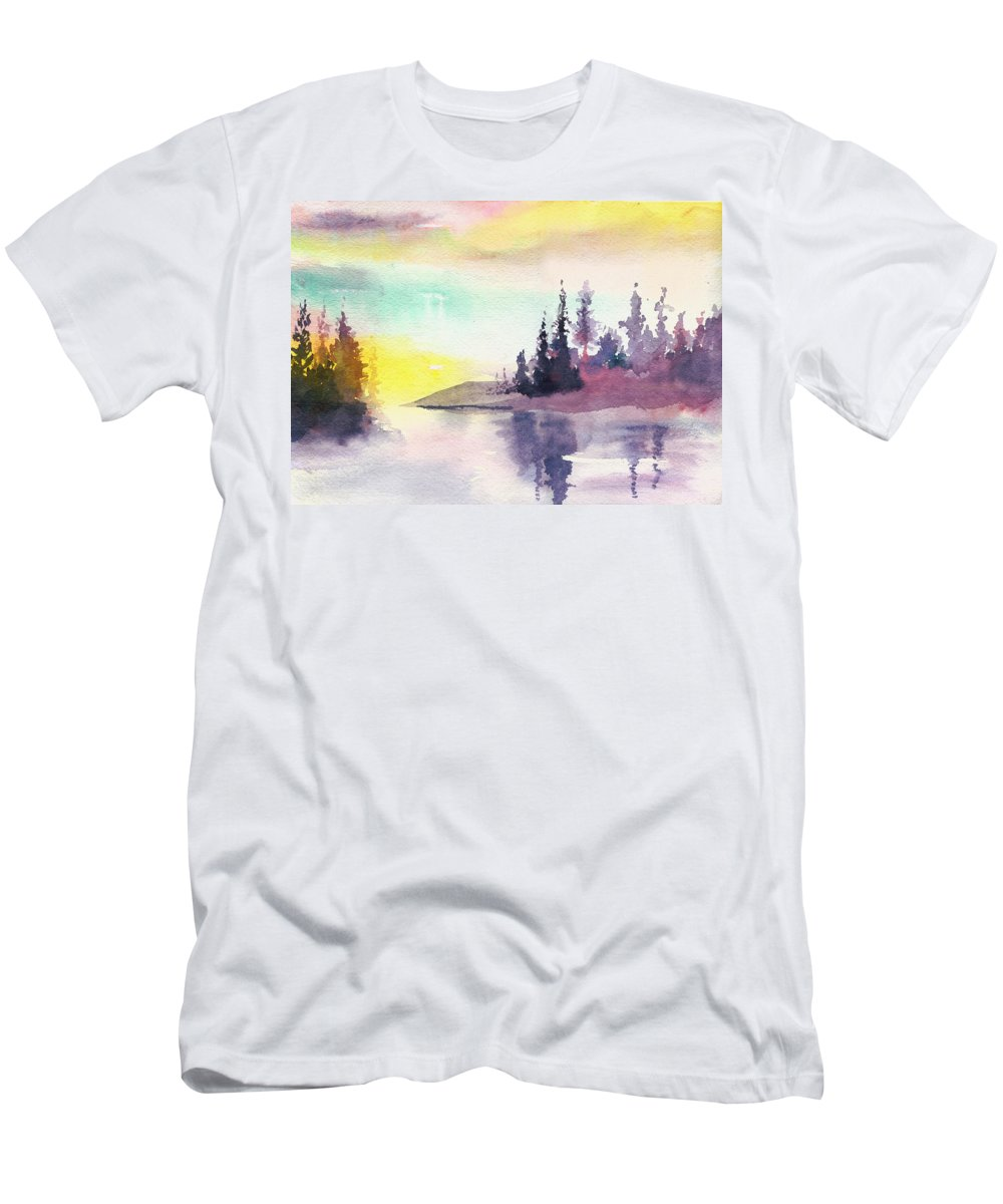 River Men's T-Shirt (Athletic Fit) featuring the painting Light N River by Anil Nene