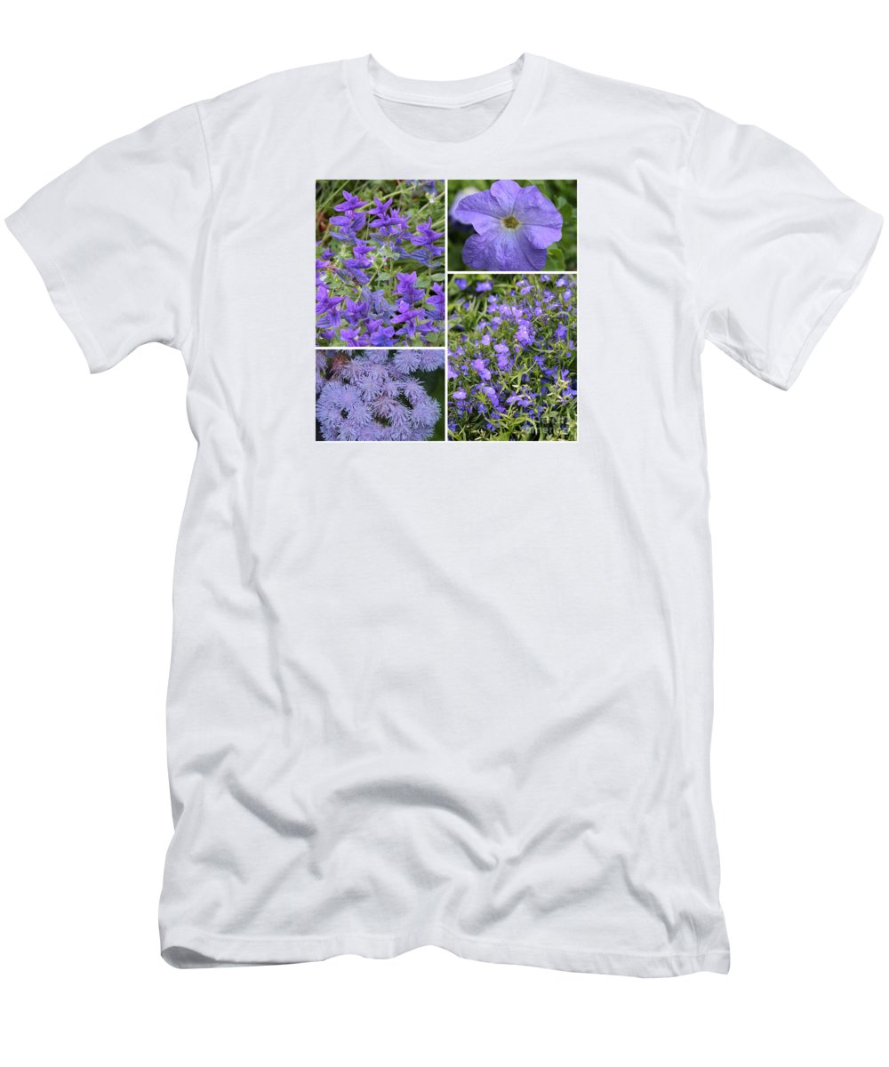 Flowers Men's T-Shirt (Athletic Fit) featuring the photograph Light Purple Flowers Collage by Carol Groenen