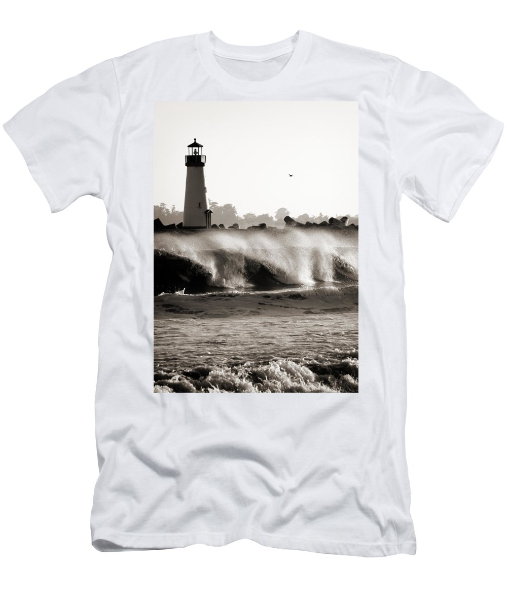Americana Men's T-Shirt (Athletic Fit) featuring the photograph Lighthouse 1 by Marilyn Hunt
