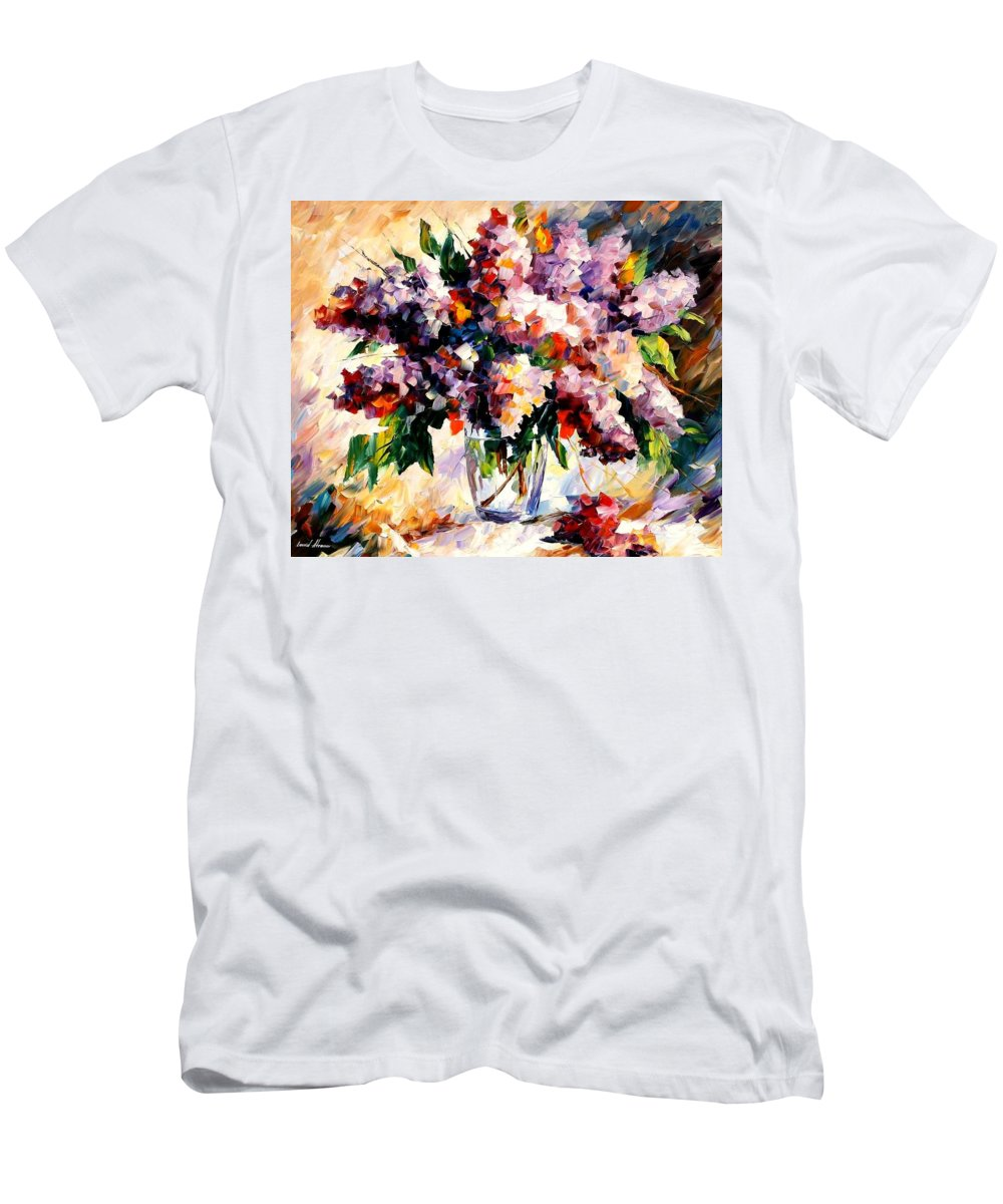 Afremov Men's T-Shirt (Athletic Fit) featuring the painting Lilac - Morning Mood by Leonid Afremov