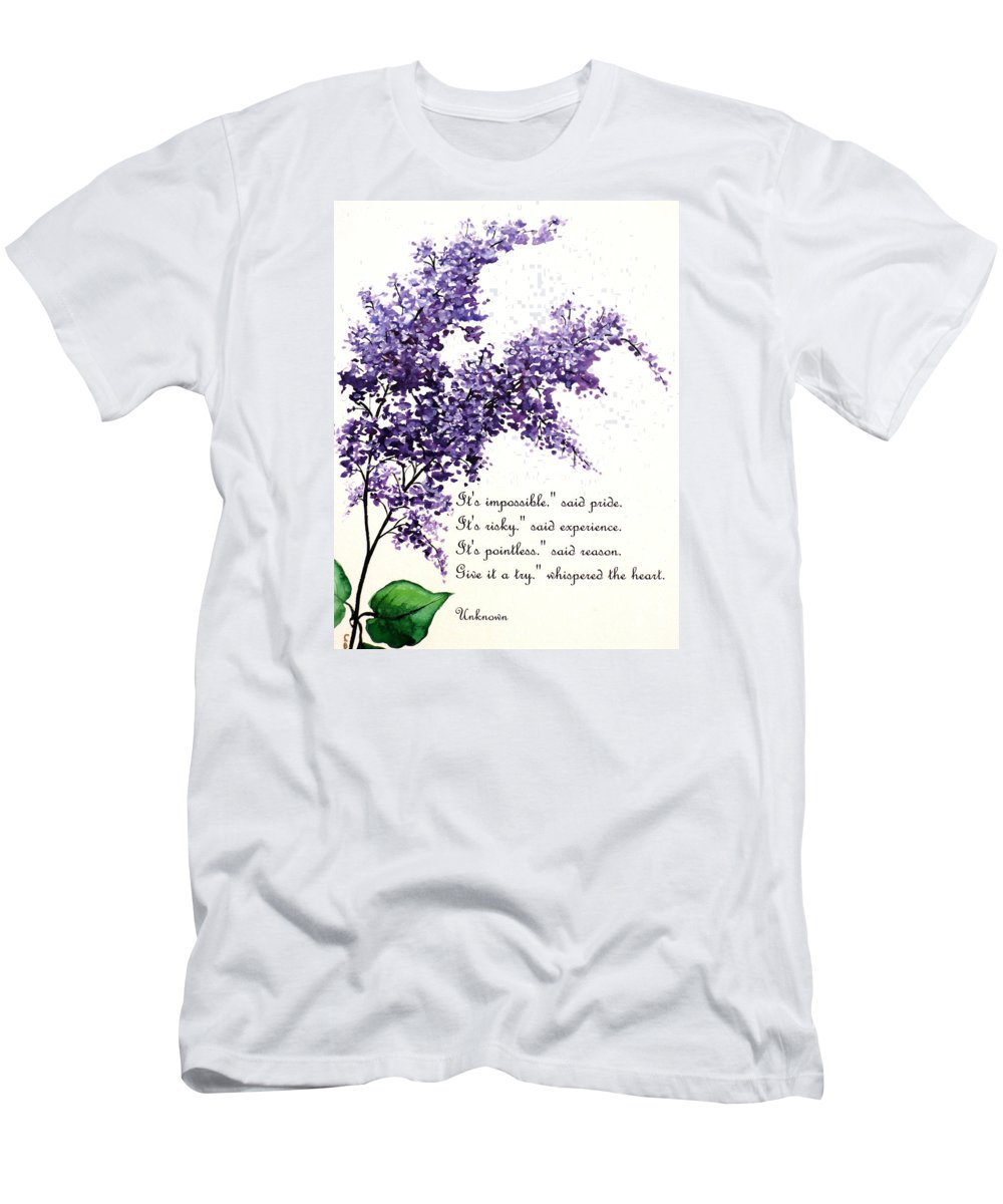 Men's T-Shirt (Athletic Fit) featuring the painting Lilac Poem by Karin Dawn Kelshall- Best