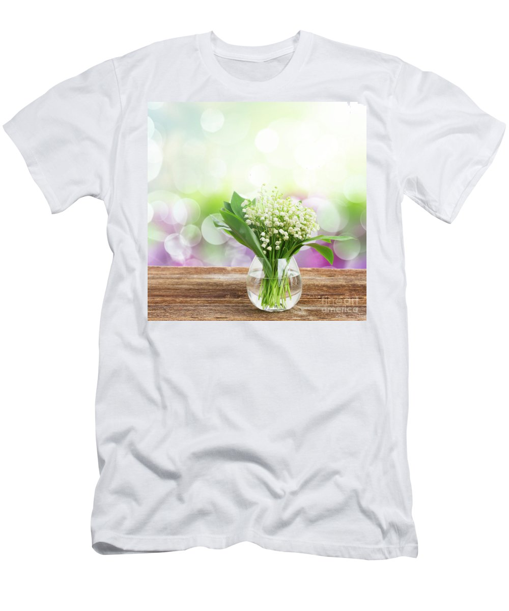 Valley Men's T-Shirt (Athletic Fit) featuring the photograph Lilly Of Valley Posy In Glass by Anastasy Yarmolovich
