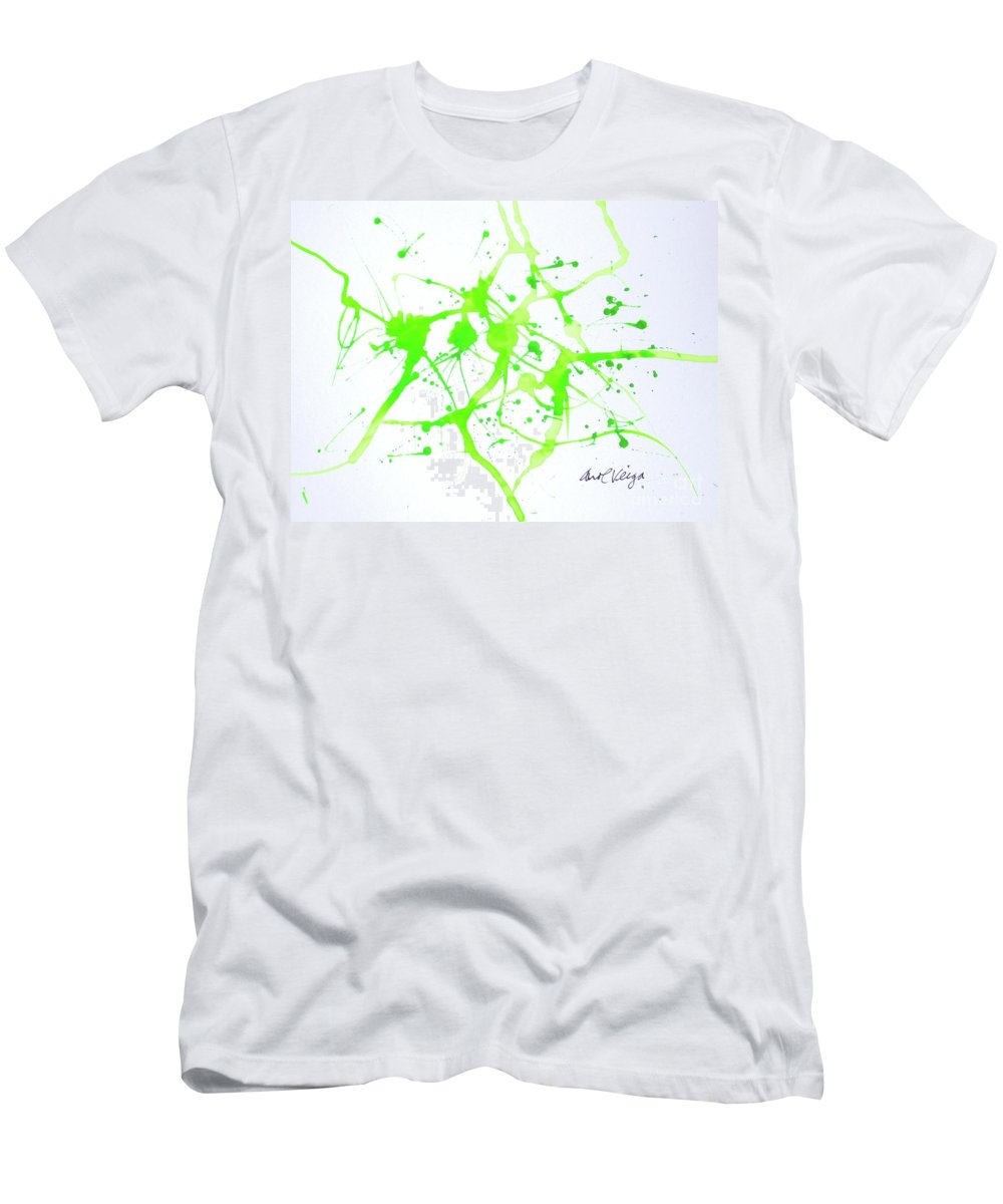 Watercolor Study Men's T-Shirt (Athletic Fit) featuring the painting Lime Green Study by Carol Veiga